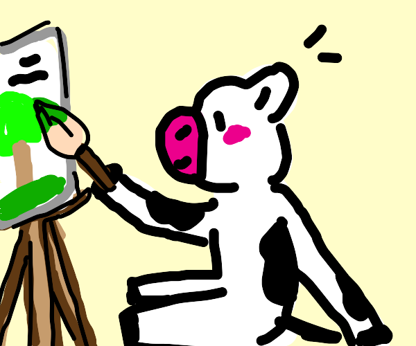 Cow painting a masterpiece