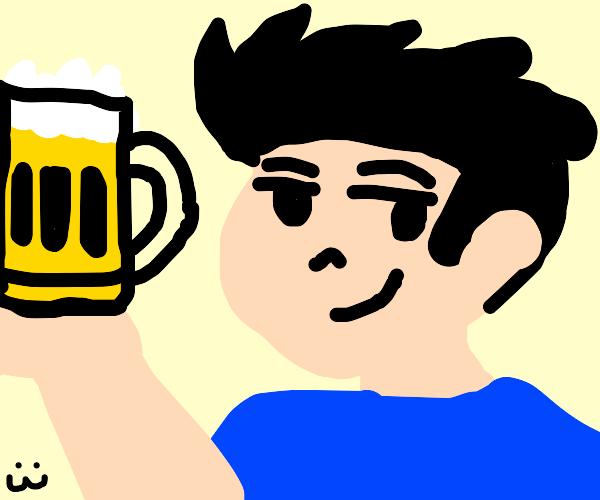 Smug man with beer mug