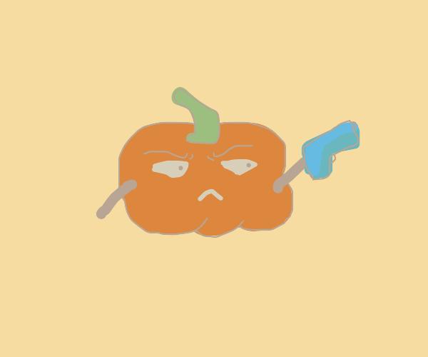 Pumpkin with a gun