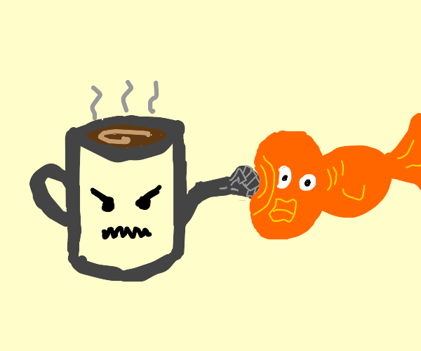 Coffee punching a fish's face