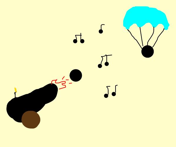 Music cannon parachute