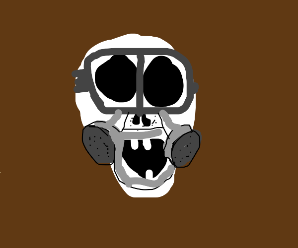 Skull with a gas mask
