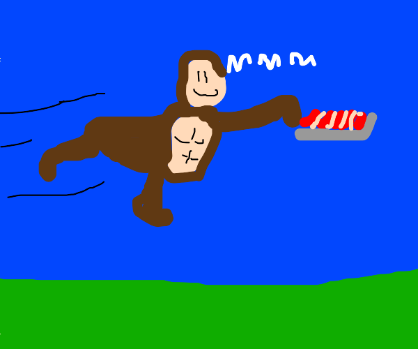 Ape flying with Lasagna