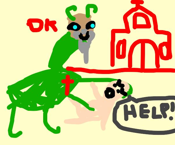 jesus as a praying mantis helping crying baby