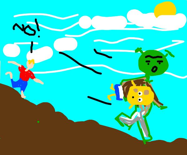 Shrek steals Spongebob from someone