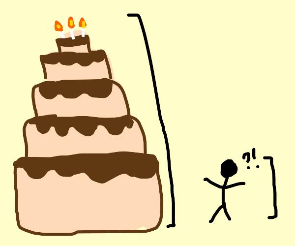 A really tall birthday cake