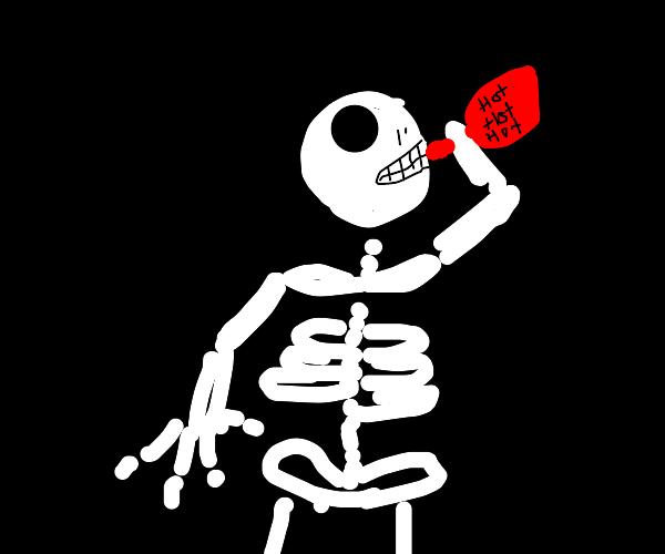 Skeleton loves hot sauce