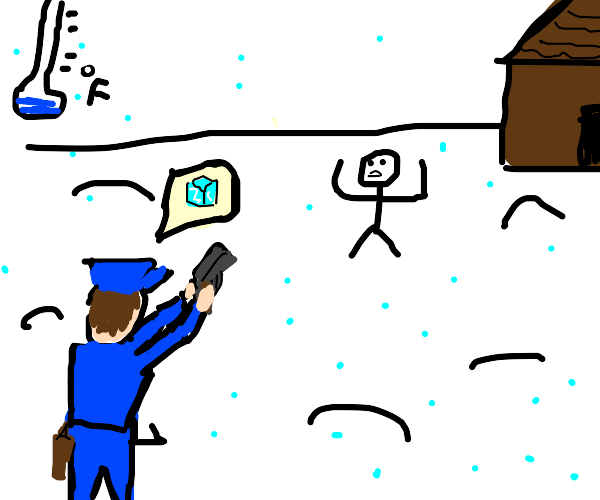 Cop telling suspect to freeze in a snowstorm