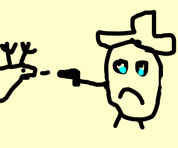 Sad Mr. Potato shooting a derpy reindeer