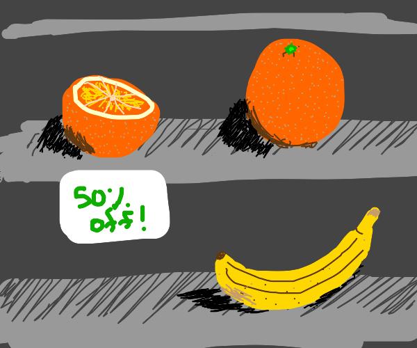 Half a orange half off