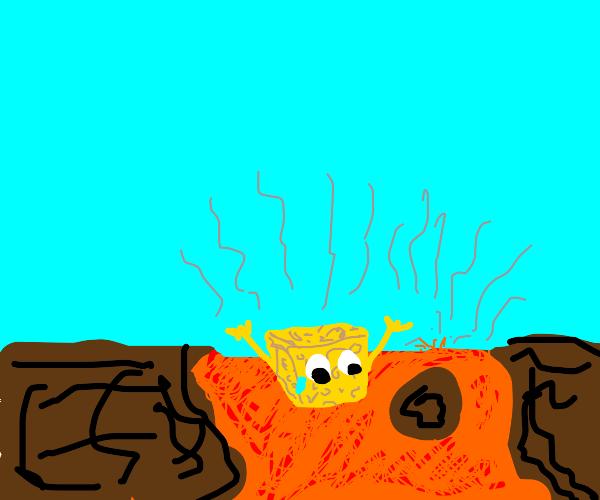 Spongebob in a pit of lava