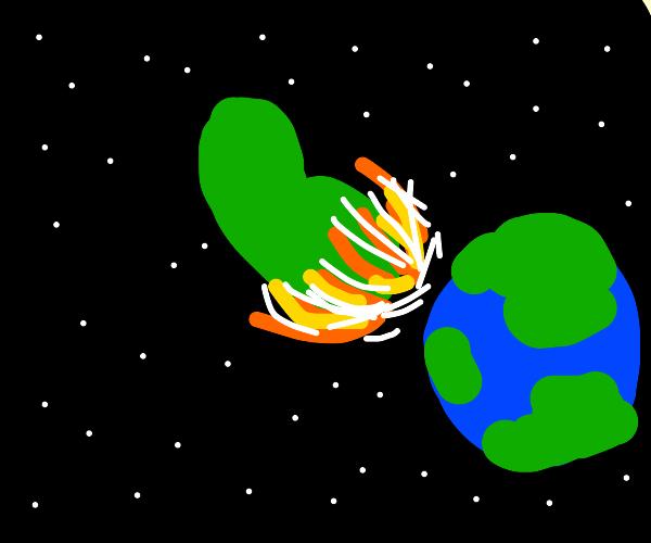 giant green bean crashes into earth