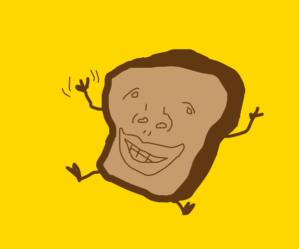 Single slice of bread smiling and waving