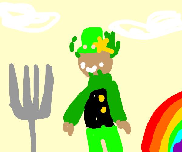 Leprechaun planting a Fork