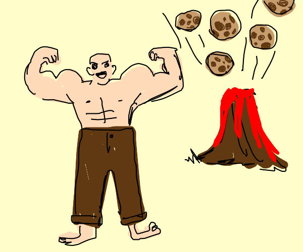 Man gets strong from cookie volcano