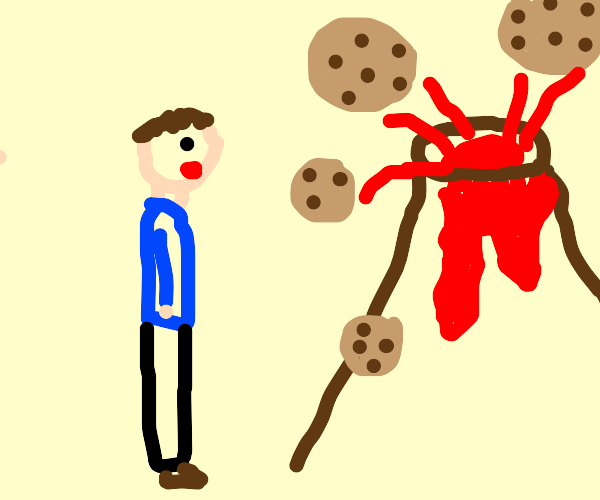 there is a man standing by a cookie volcano