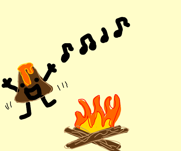 Mr volcano dancing and singing near camp fire