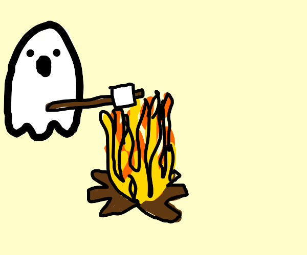 Ghost roasts marshmallow over a campfire