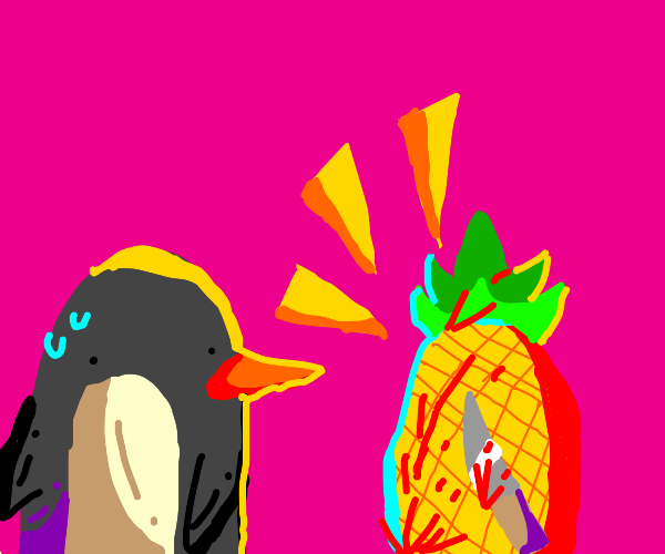 penguin is terrified of pineapple