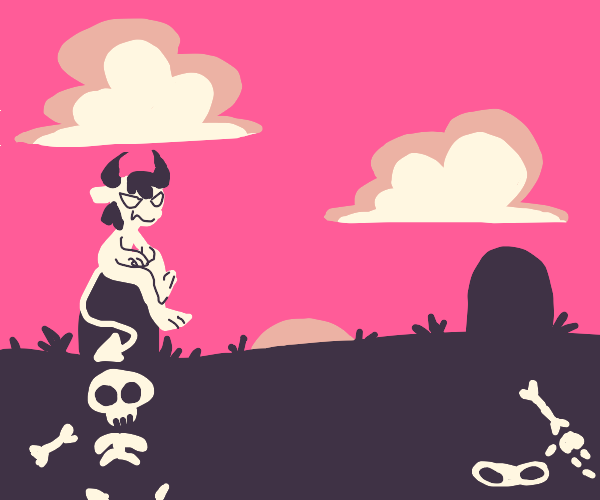 Devil in graveyard at sunset