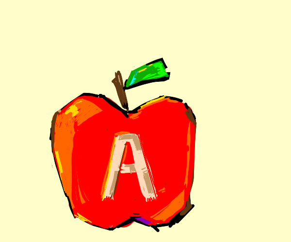 an apple, with the letter it starts with