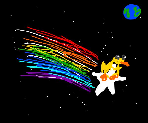 Duck riding a shooting star