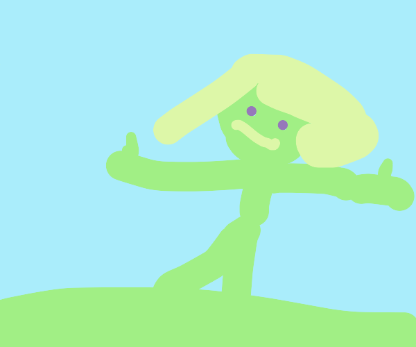 grass lady gives double thumbs up