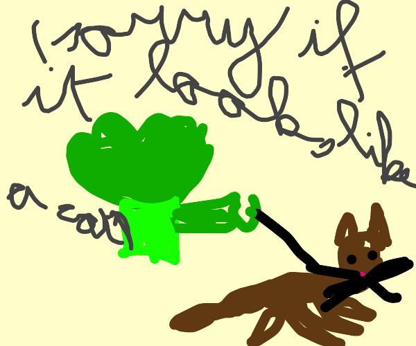 broccoli walking dog