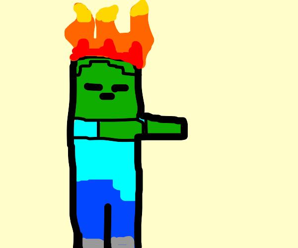zombie is on fire