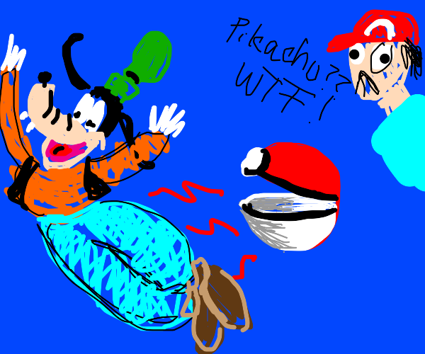 goofy comes out of a pokeball