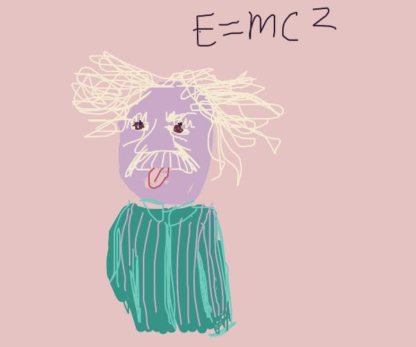 Albert Einstein in a striped shirt