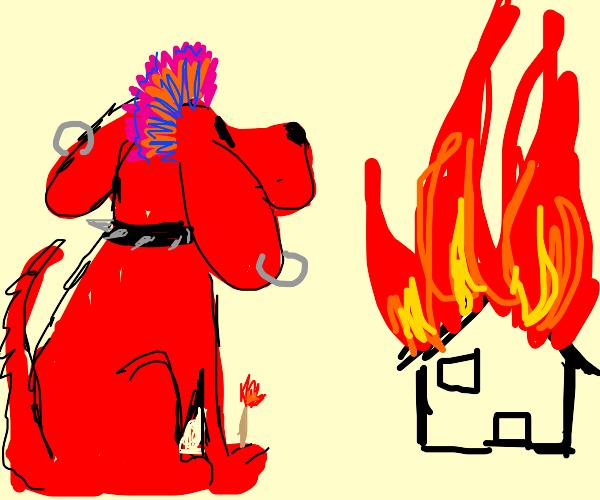 Punk Clifford (tbrd) burns down a building
