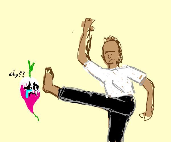 dude drop kicking a sad turnip