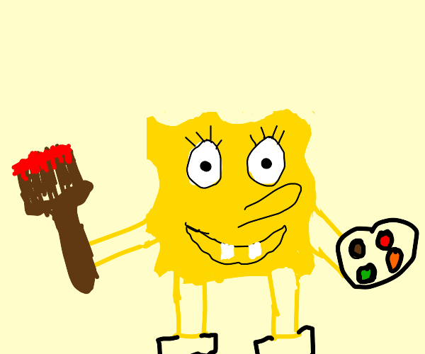 spongebob with a paint pallete and brush