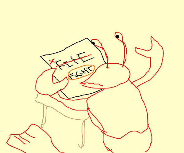Lobster can't spell fight