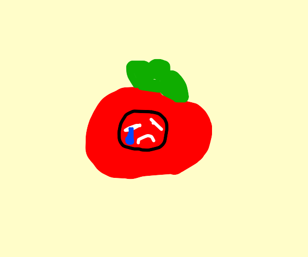 the draw emotion logo in a tomato