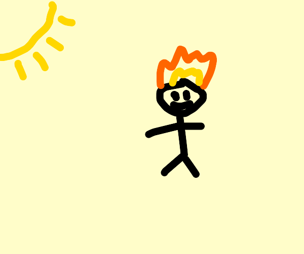 Man happy that the sun lit his face on fire