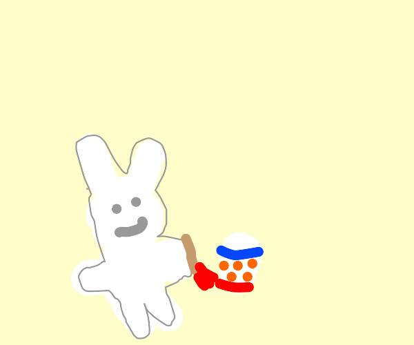 The Easter Bunny decorates an egg for April