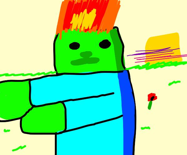 Minecraft zombie on fire