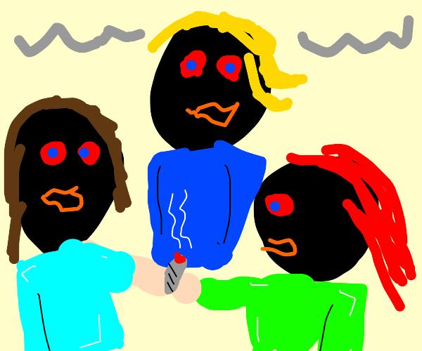 smokin' with the gang.