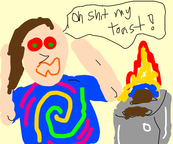 Hippie is afraid of a toaster on fire