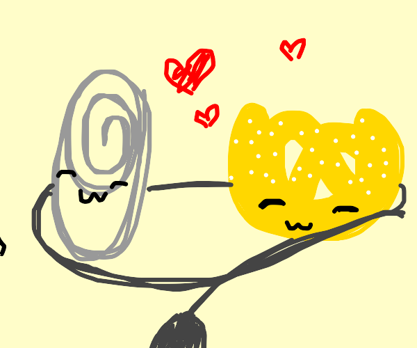 Pretzel and paperclip on a wire in love