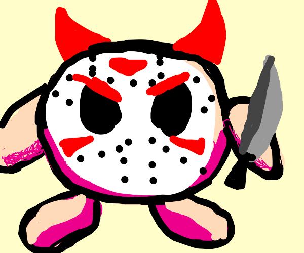 Evil Devil Kirby wears Jason Mask