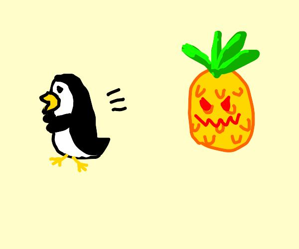 Penguin runs from evil pineapple