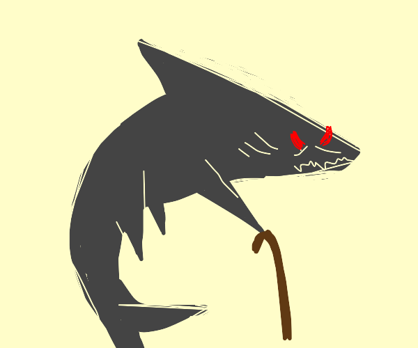 Big ol' shark with red eyes