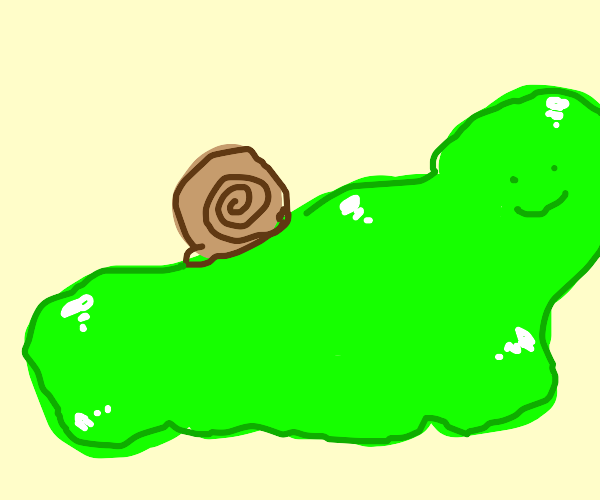 Giant green sludge with a snail shell