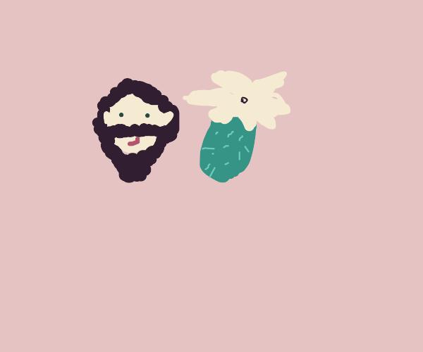 dude w/great beard and long green pineapple