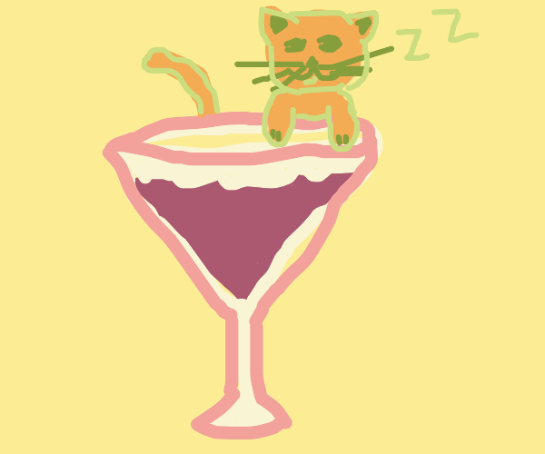 Cat lounging on a giant wine glass