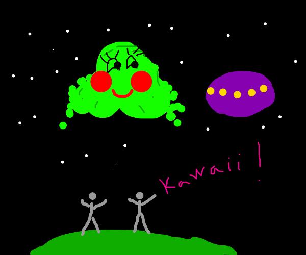Giant kawaii slime alien with ufo