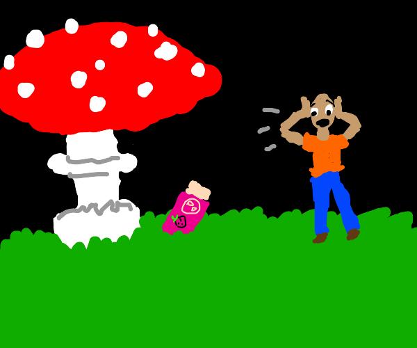 Screaming at gum under mushroom at night